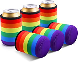 TAGVO Can Sleeves, Insulated Beer Can Sleeve Covers Easy-On Can Cooler Set of 6- Rainbow Colour, Machine Washable, Durable, Neoprene with Stitched Fabric Edges