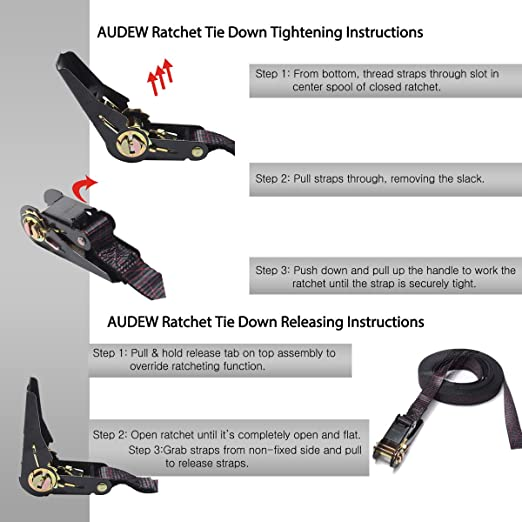 Amazon Audew Ratchet Tie Down Straps 4 Pack Ratchet Straps 20