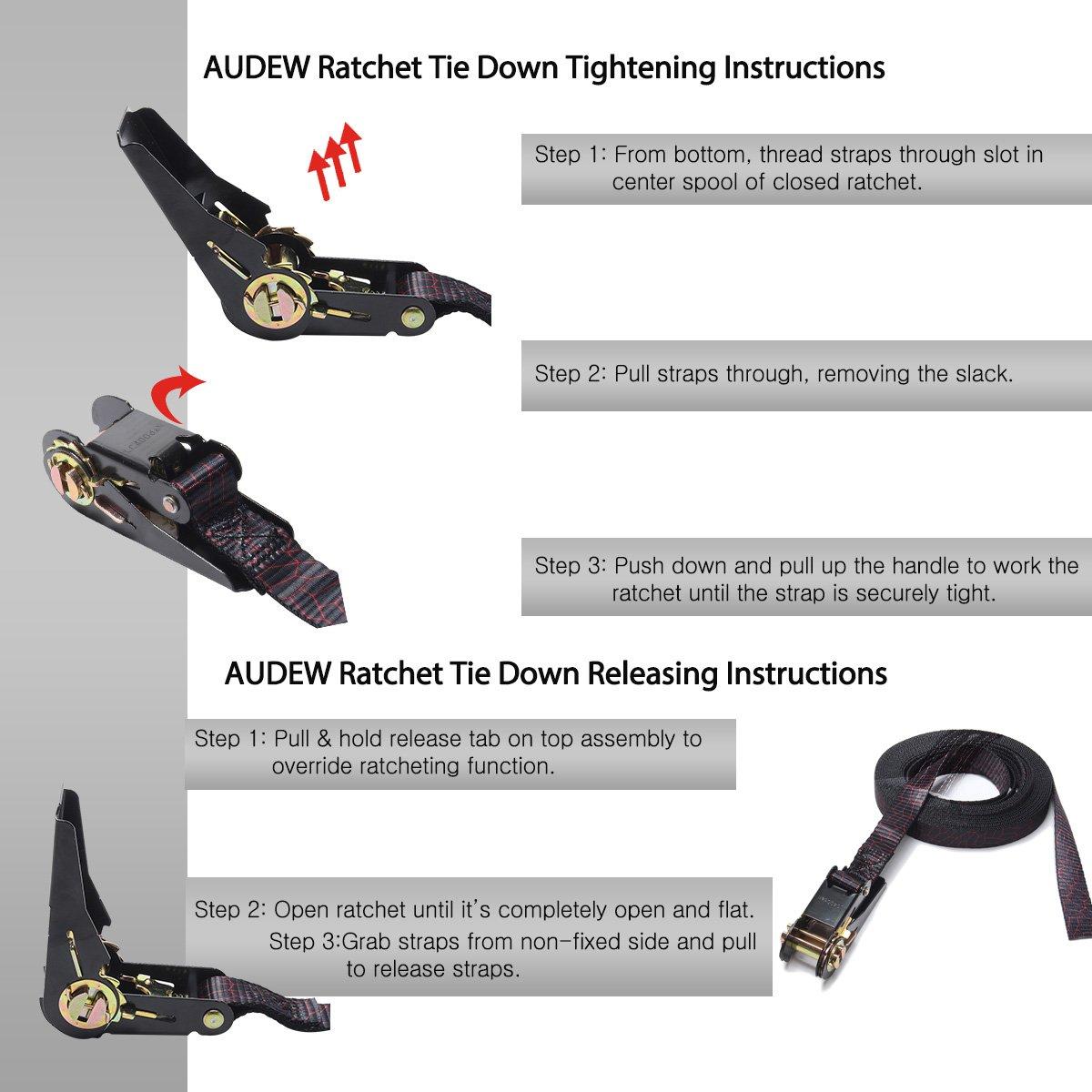 Audew Ratchet Tie Down Straps 4 Pack Ratchet Straps 20 FT-2400Lb Break Strength Cargo Straps, Heavy Duty Lashing Straps by Audew (Image #7)
