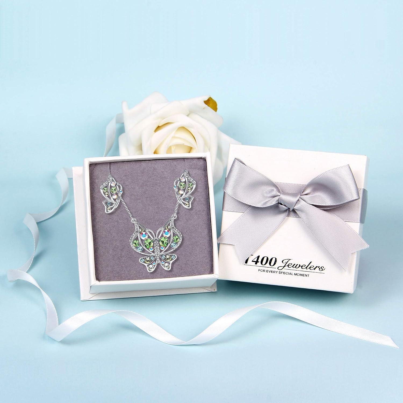 T400 Collier et Boucle doreille Pendentif Coeur Papillon Parure Bijoux Ensembles de Bijoux pour Femmes,45+5cm