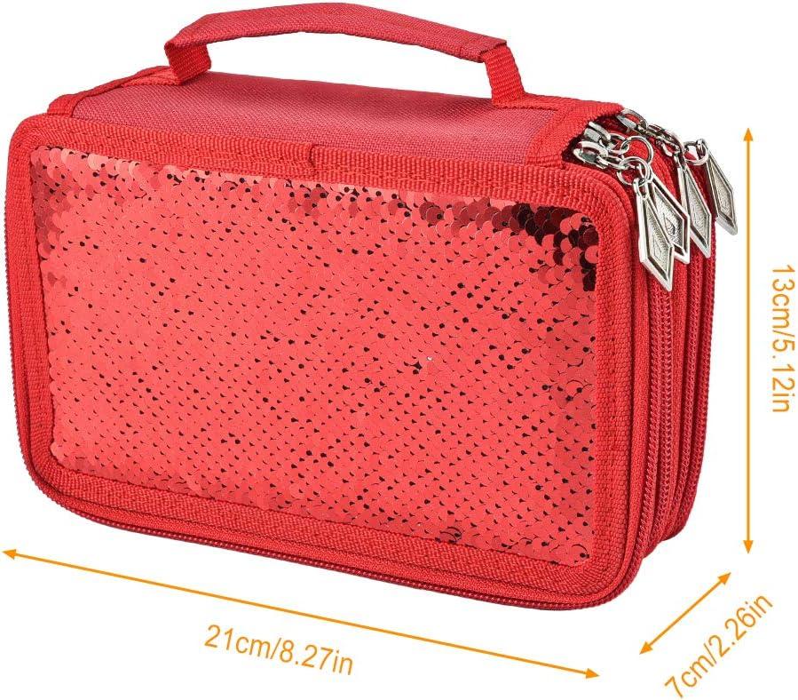 Sac Rangement Papeterie avec Fermeture Glissi/ère pour Fille /Étudiant Artiste Rouge Mode /Étui Crayons Sequins 72 Fentes Asiv Sac /à Crayons Grande Capacit/é 4 Compartiments