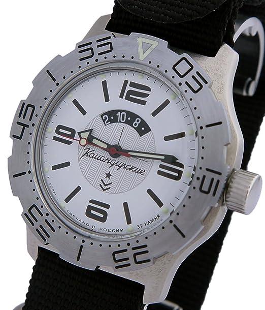 Vostok KOMANDIRSKIE K-35 ruso Militar reloj blanco K35 con correa de la OTAN 2431/350618: Amazon.es: Relojes