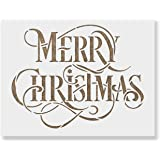 Merry Christmas Stencil - Perfect Stencil for Painting Wood Signs - Reusable Stencils for Christmas with Fast Shipping