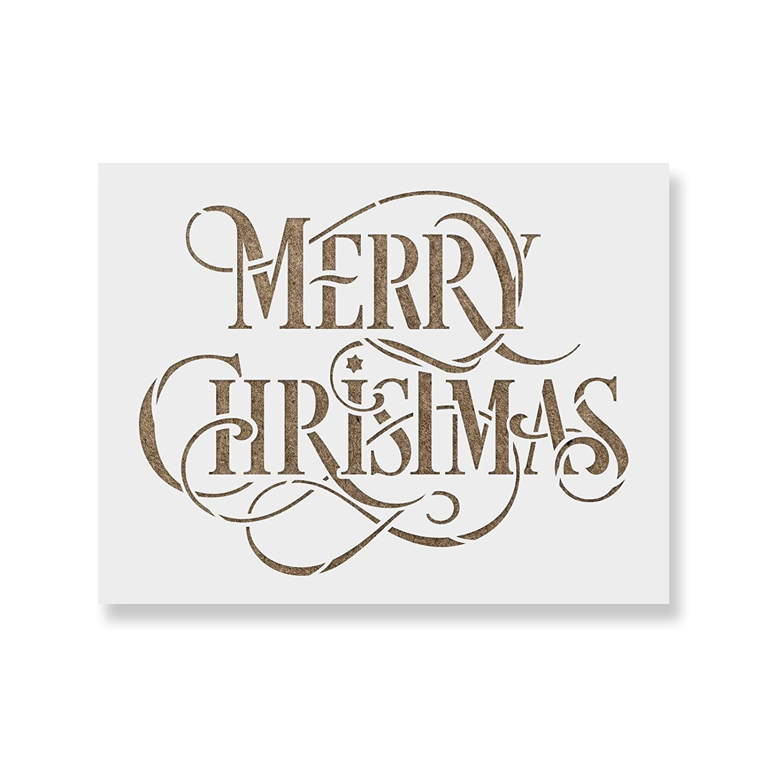 Merry Christmas Stencil - Perfect Stencil for Painting Wood Signs - Reusable Stencils for Christmas Stencil Revolution