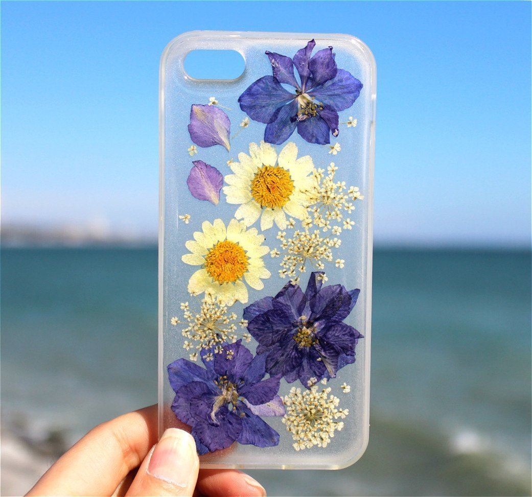 Handmade Real Purple Flowers and White Daisies Blossom Samsung Galaxy S8 and S8 Plus Floral Slip Resistance Silicone Gel Rubber Case Cover