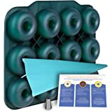 Large Luxury Silicone Donut Pan - BPA-Free SUPER-NON-STICK 12 Full Size Doughnut Mold Bagel Pan with Bonus Pastry Bag and Recipe Card.