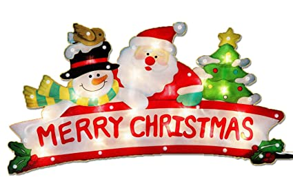 christmas window decoration glitter snowman santa merry christmas sign with 20 lights double sided - Merry Christmas Window Decorations