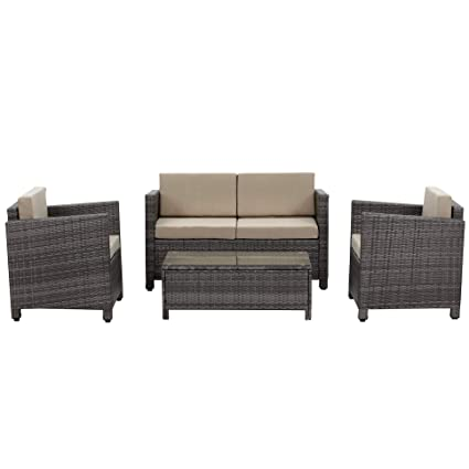 Wisteria Lane Outdoor Patio Furniture Set, 5 Piece Conversation Set Sectional  Sofa All Weather Wicker