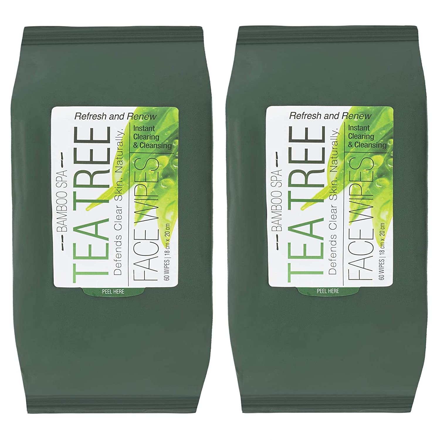 Bamboo Spa - 2 Pack (60 Count Each) Tea Tree Makeup Wipes