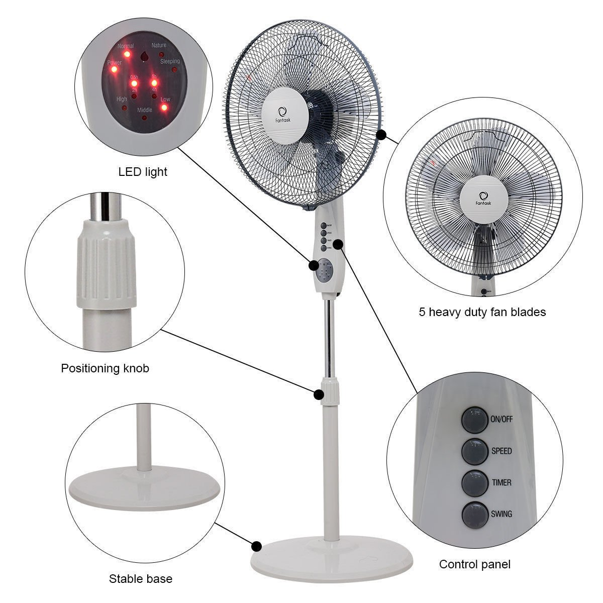 SD LIFE Home Office 3-Speed 15'' Oscillating Pedestal Fan 5 Blade Adjustable Height Timer