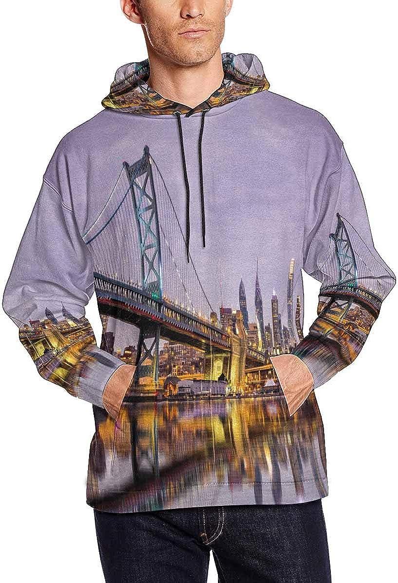 INTERESTPRINT Mens Ben Franklin BriMMSZLDGe and Philadelphia Skyline Hoodies Sweatshirt