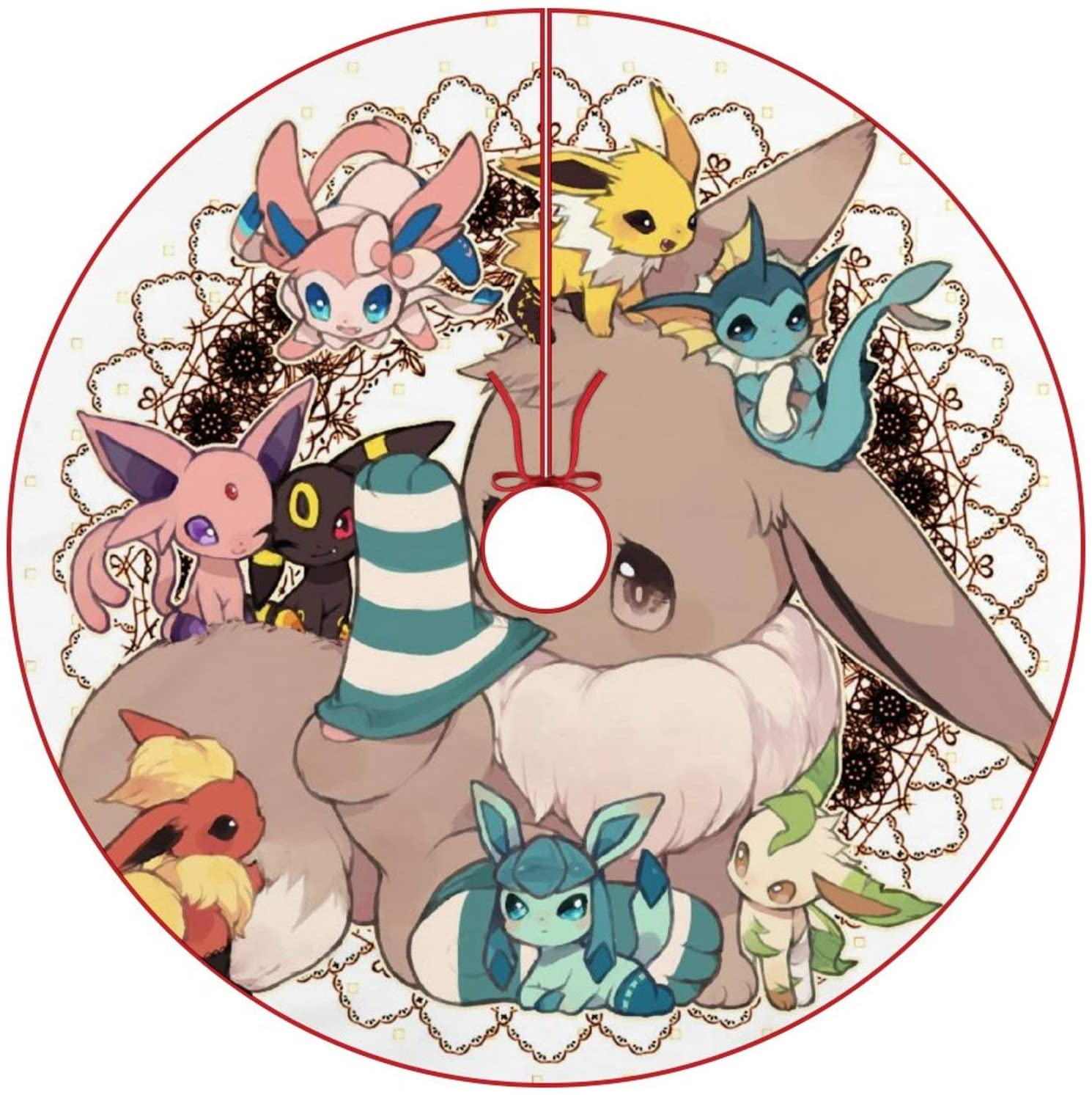 oobon Christmas Tree Skirt for Anime Fans,Eeveelution 4, Xmas Holiday Party Ornament Supplies Large Santa Tree Mat Decor for Gift and Decoration, 48 inches