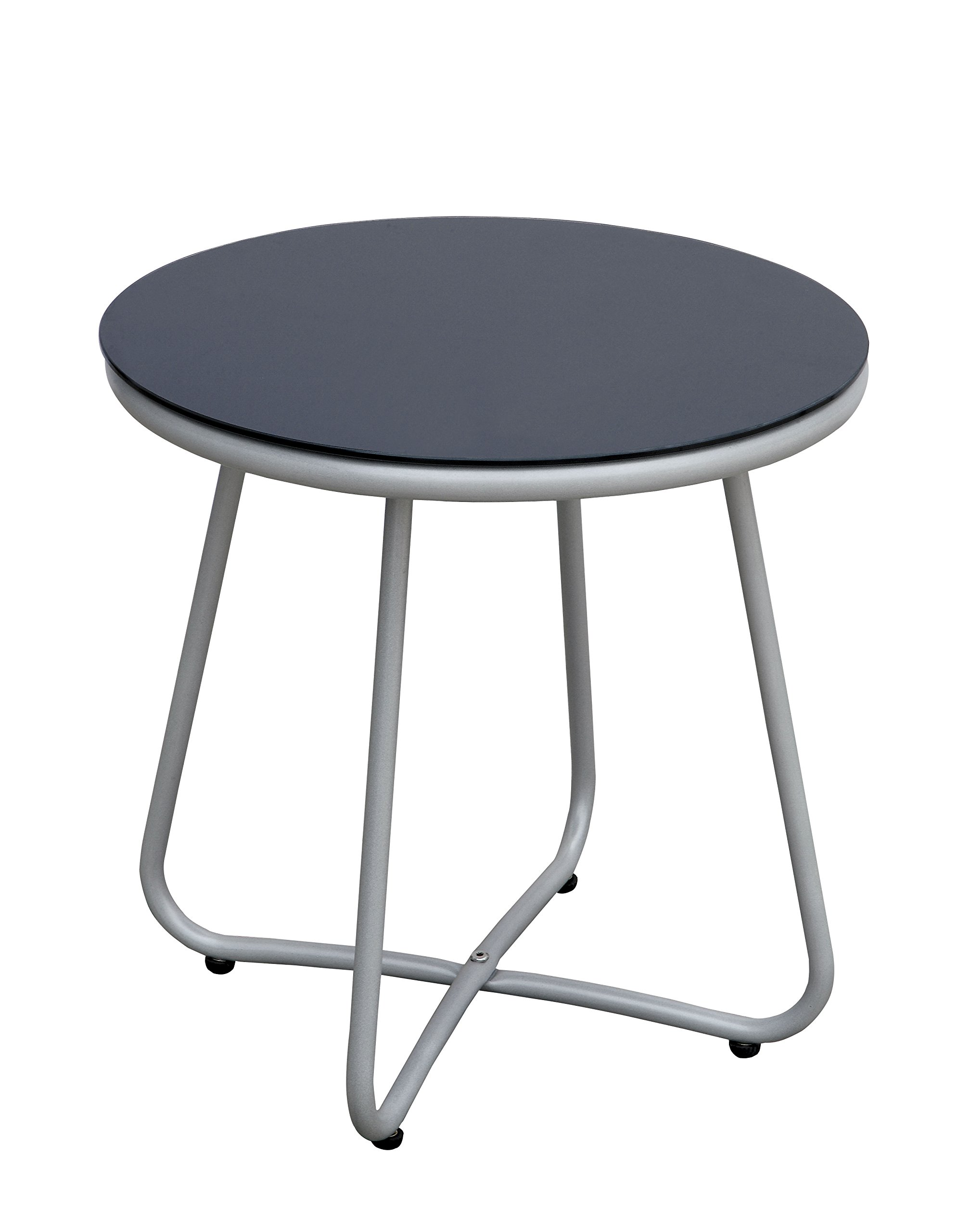 24/7 Shop at Home 247SHOPATHOME IDF-OC2120-T Myami Outdoor Side Table, Grey - Contemporary style Sturdy aluminum frame with curved legs 5mm tempered glass top - patio-tables, patio-furniture, patio - 71YlE98oAeL -