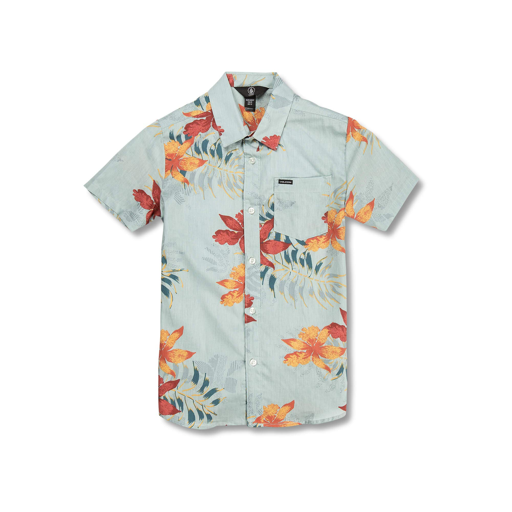 Volcom Big Boys Wave Fayer Floral Short Sleeve Shirt, sea Glass, Small