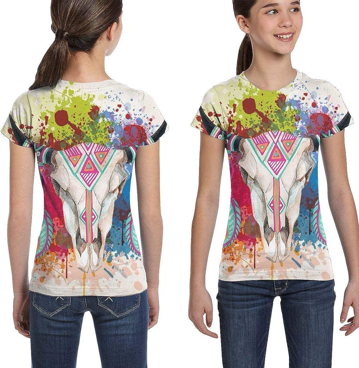 L6Nv4o@A Girls Short Sleeve Sheepshead T-Shirts XS-XL Casual Blouse Clothes