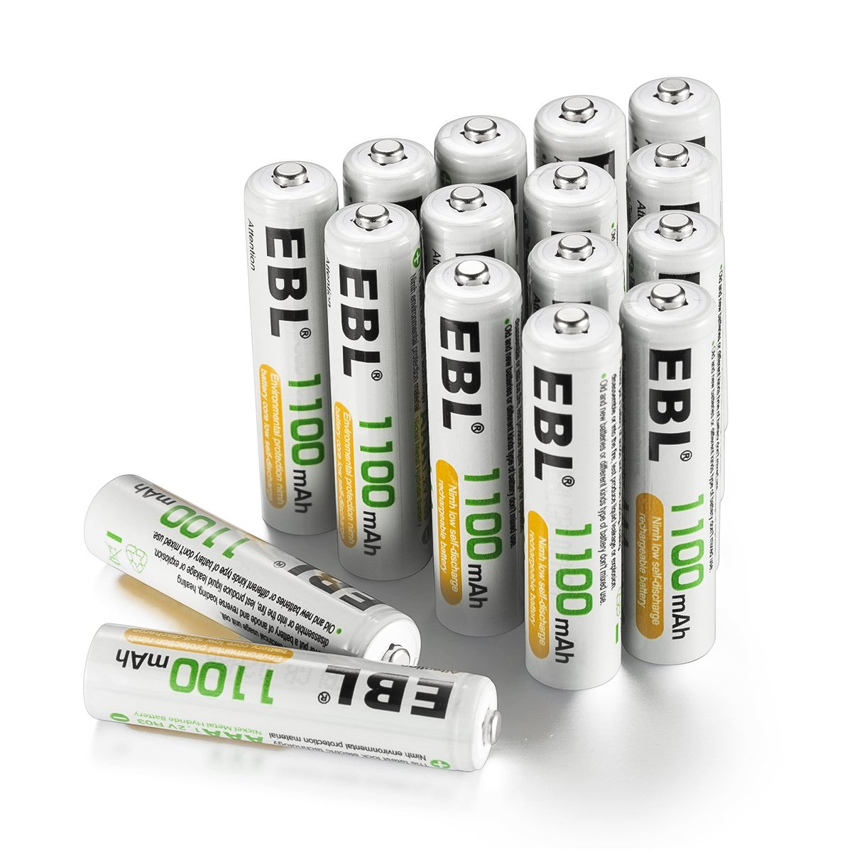 EBL Rechargeable AAA Batteries (16-Counts) Ready2Charge 1100mAh Ni-MH Battery by EBL