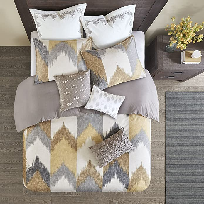 3pc King/California King Alpine Cotton Duvet Cover Mini Set Yellow