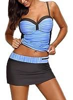 Azokoe Womens Sweatheart Neck Color Block Tankini Swimsuits With Pantyskirt