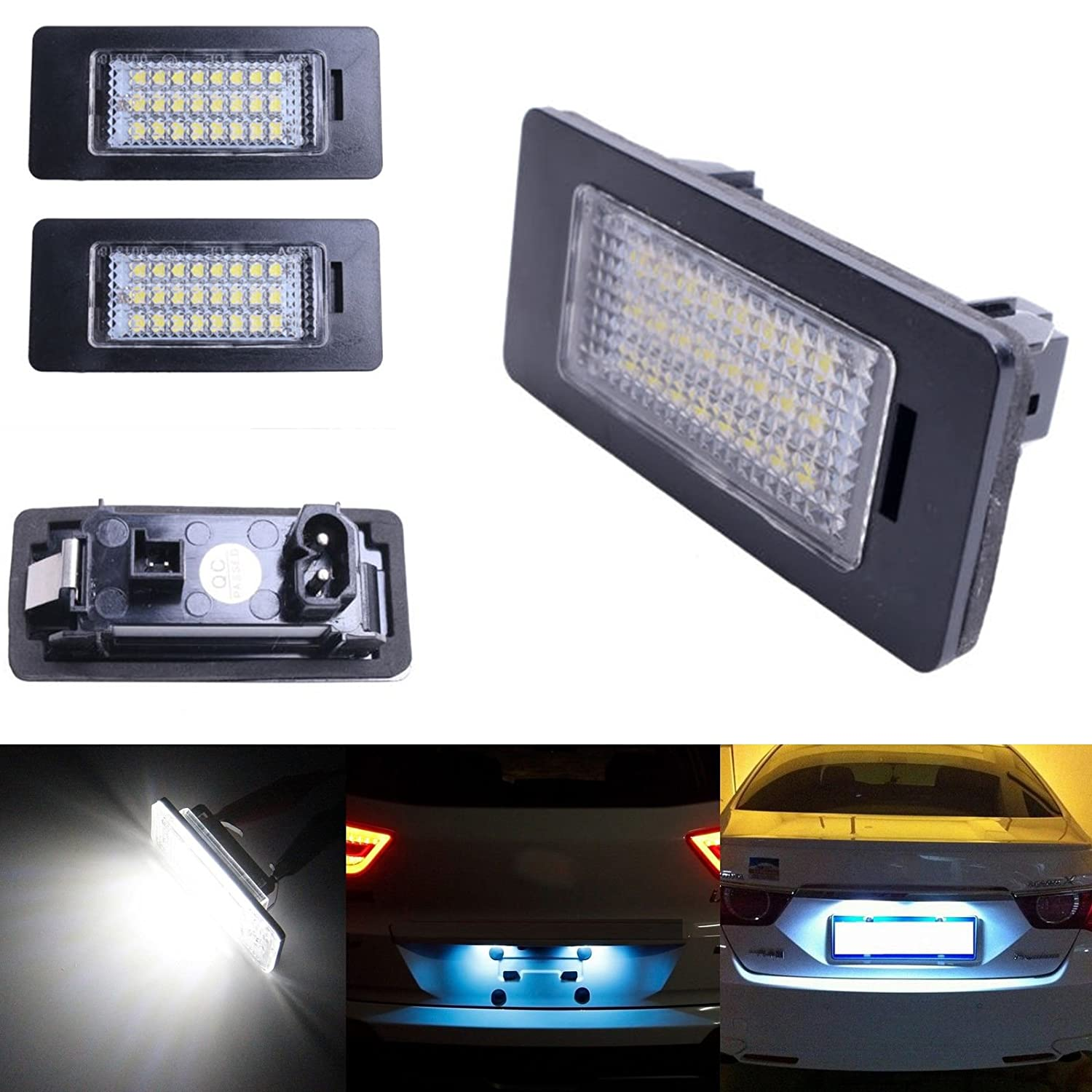 Ricoy 24 LED License Plate Number Lights For E81 E82 E90 M3 E92 E70 E39 F30 E60 E61 E93 6000K (Pack of 2)