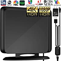 [Newest Version] Amplified HD Digital TV Antenna 120Miles Long Range -Support 4K/1080p Fire tv Stick and All Older TV's Indoor Powerful HDTV Amplifier Signal Booster - 13ft Coax Cable/AC Adapter
