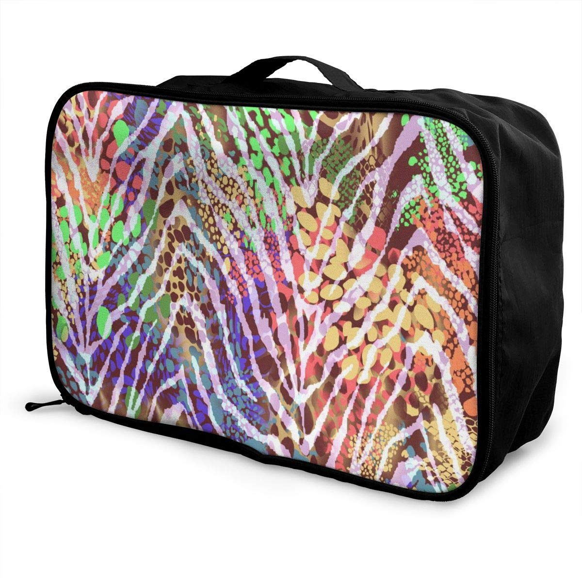 Colorful Leopard Zebra Grain Travel Lightweight Waterproof Foldable Storage Carry Luggage Duffle Tote Bag Large Capacity In Trolley Handle Bags 6x11x15 Inch
