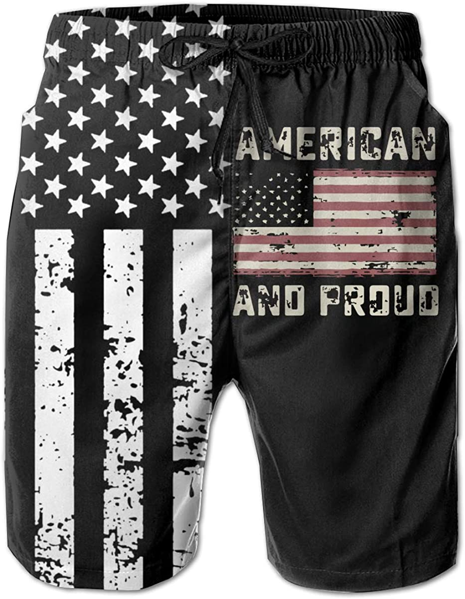 TBVS 79 American and Proud USA Flag Mens Holiday Party Board Shorts for Surf Sand and Fun