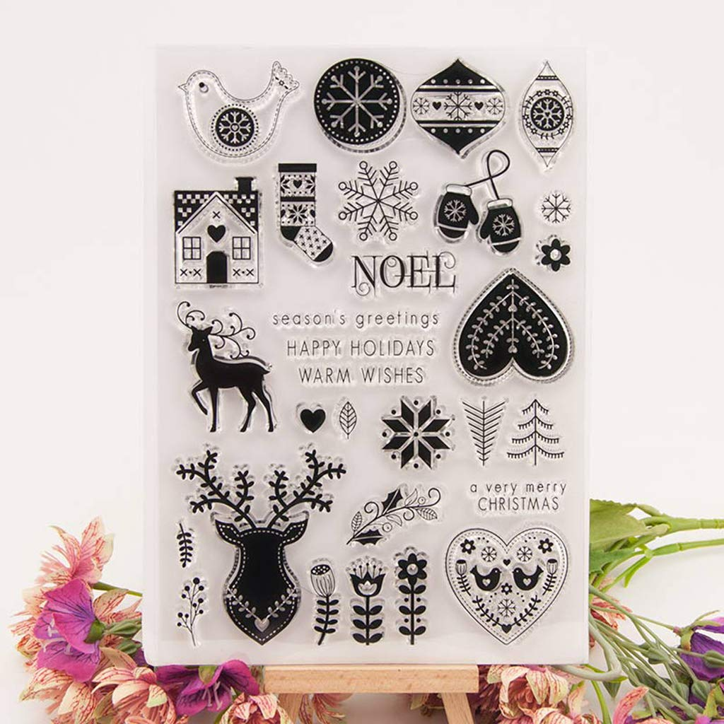 Lpyfgtp Christmas Silicone Clear Stamps, for Card Making, Cling Seal ...