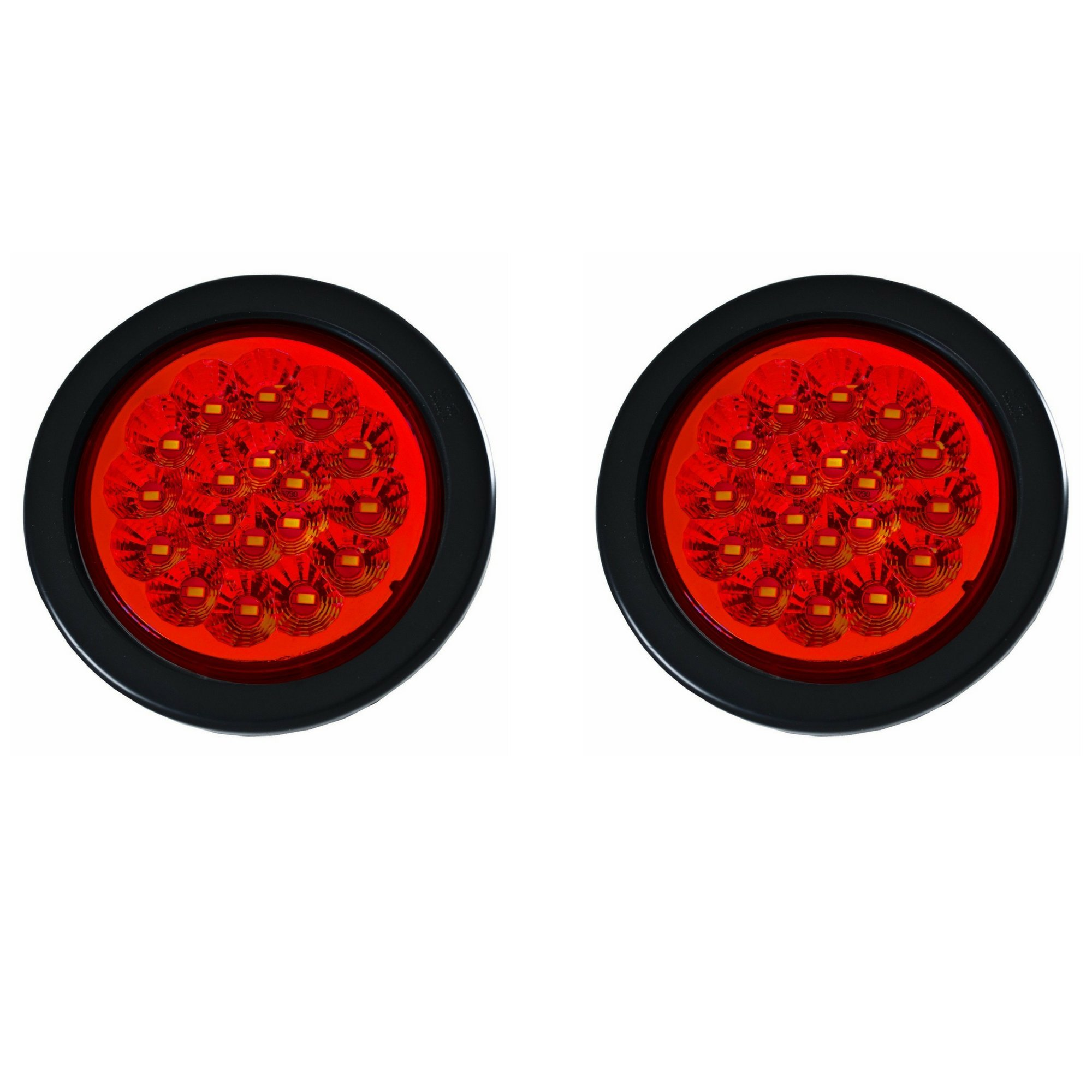 Qty 2-4'' 18 LED Red Round Stop Turn Tail Backup Truck Trailer Lights