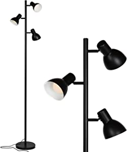 Brightech Ethan - LED Tree Floor Lamp for Mid Century, Modern, Contemporary and Industrial Decor - 3 Light Standing Pole Lamp- Tall Light for Living Room, Bedroom, and Office - Black