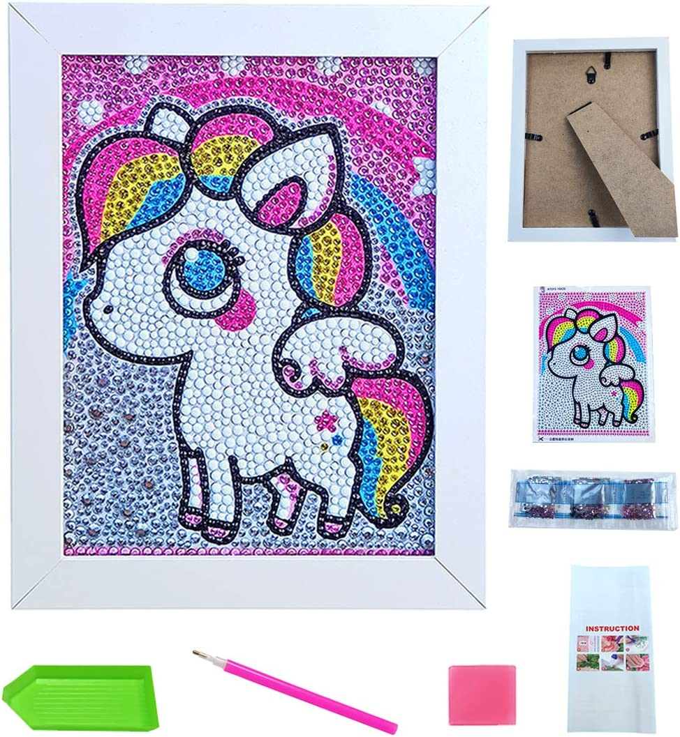 FKYTION DIY 5D Diamond Painting Kit for Kids Small and Easy Kids Mosaic Kits with Wooden Frame Rainbow Horse Toddler Art /& Creativity Wall and Desktop Decor Toys for Kids Beginner 8x6 Inch