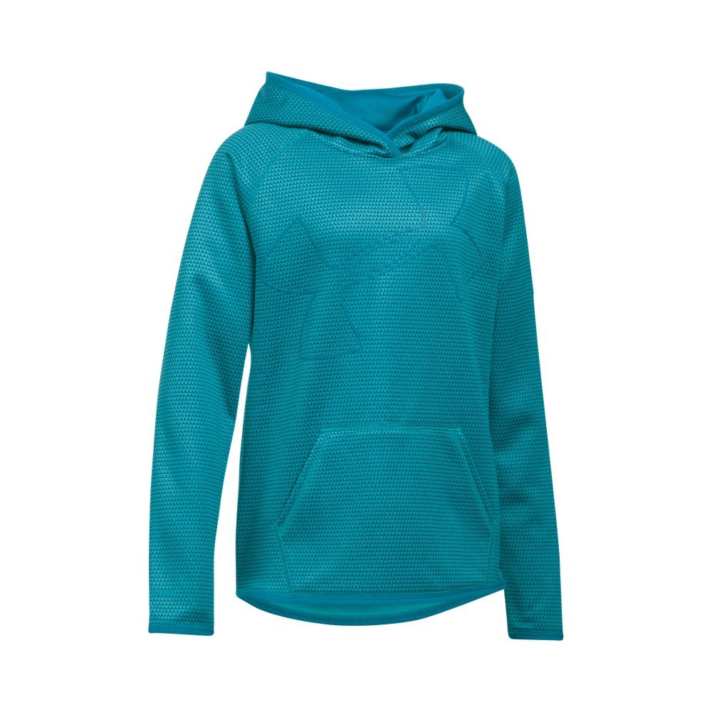 Under Armour Girls' Armour Fleece Novelty Jumbo Logo Hoodie, Pacific (480)/Teal Blast, Youth Small