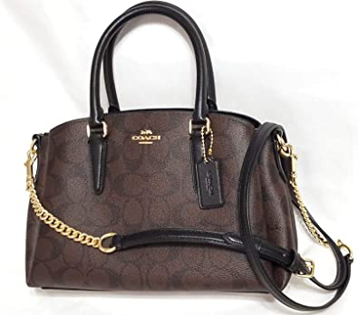 d63c64e3bf39 Amazon.com  Coach Signature Mini Sage Carryall Crossbody Bag Brown Black   Shoes