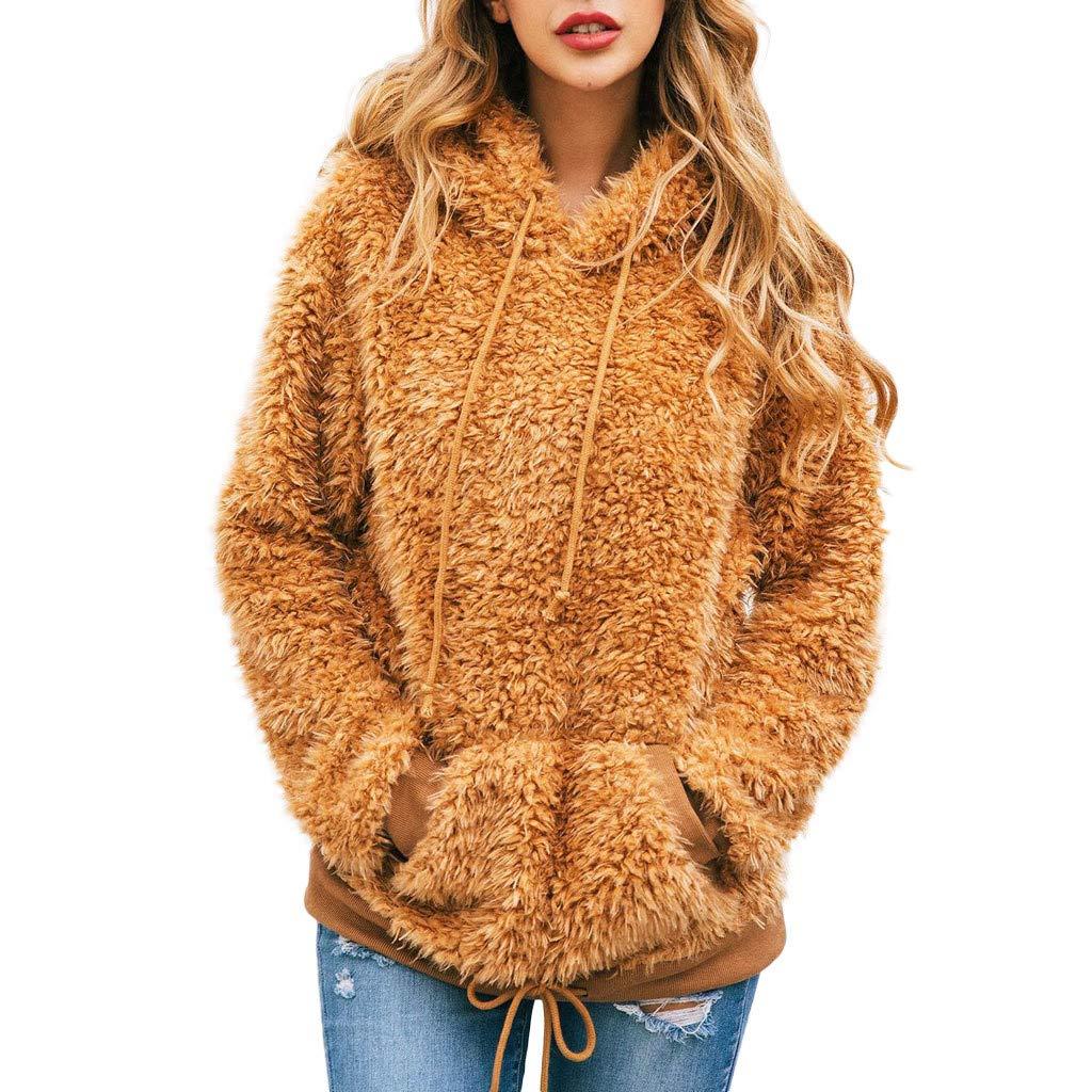 Ros1ock Women's Sweaters Flannel Long Sleeve Hoodie Drawstring Loose Pullover Keep Warm Tops Blouse Brown by Ros1ock_Women's Tops
