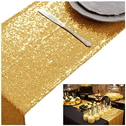 3f29ad486b6919 Amazon.com  Sparkly Gold Sequin Table Runner(12  72  )  Home   Kitchen