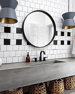 Black Round Wall Mirror-24 inch Bathroom Mirror - Circle Wall Mounted Mirror - Bathroom Vanity Mirror with Matte Black Frame - Living Room, Bedroom, B60