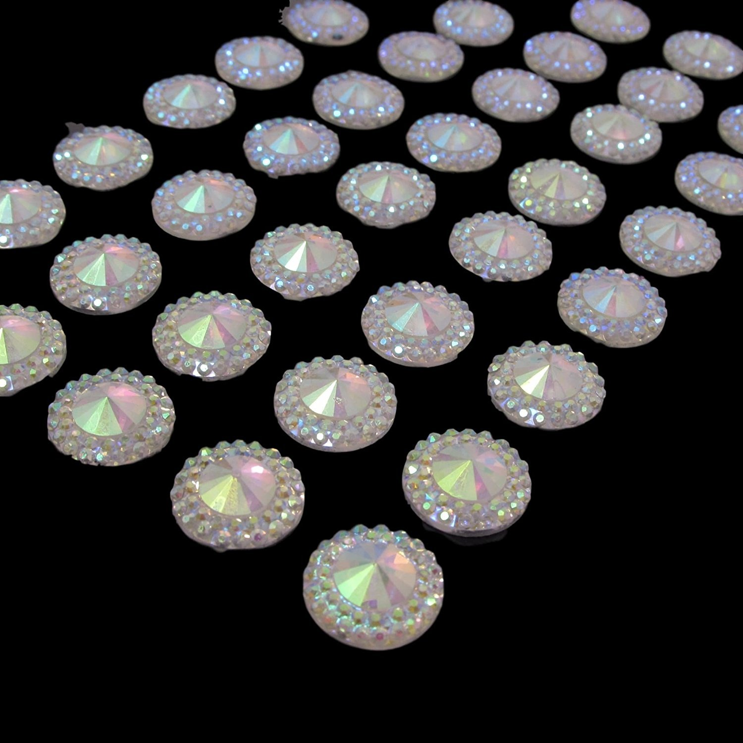 40 x Self Adhesive Gems Clear AB Round Diamante Rhinestones Resin Crystals Stick on Gems Card Making Embellishments For Crafts Syntego