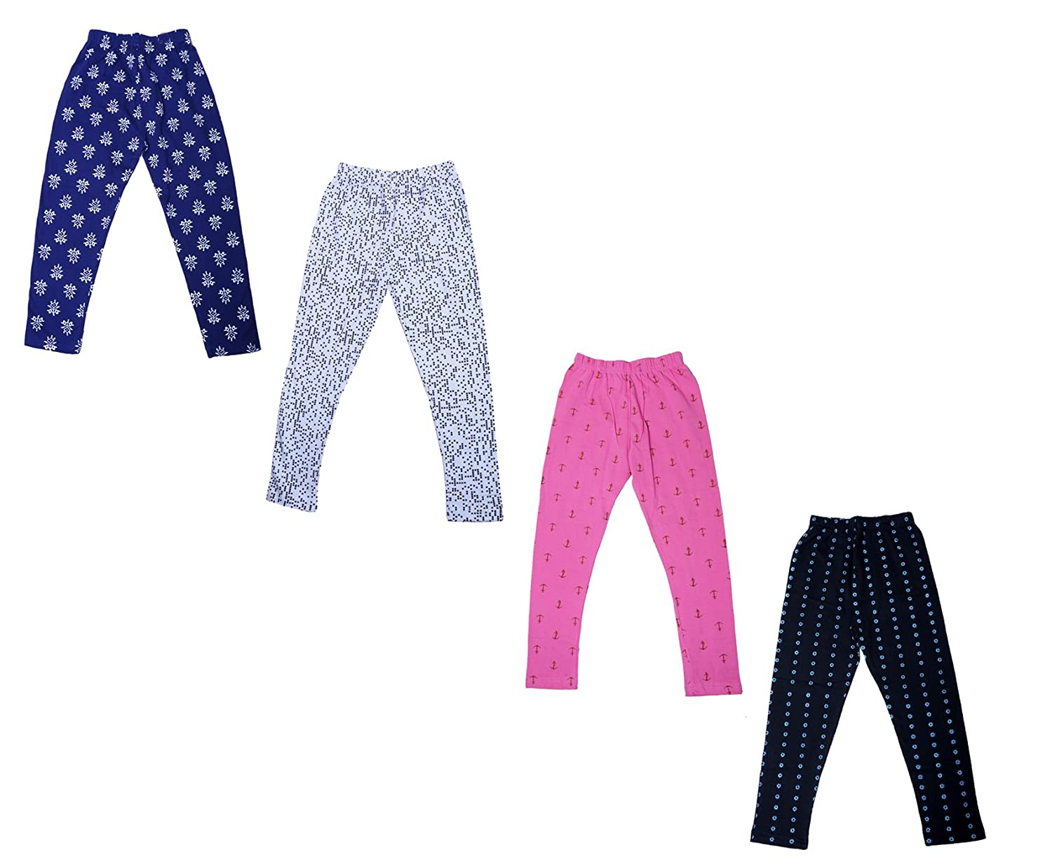 Indistar Girls Super Soft and Stylish Cotton Printed Churidar Legging Pants Pack of 4