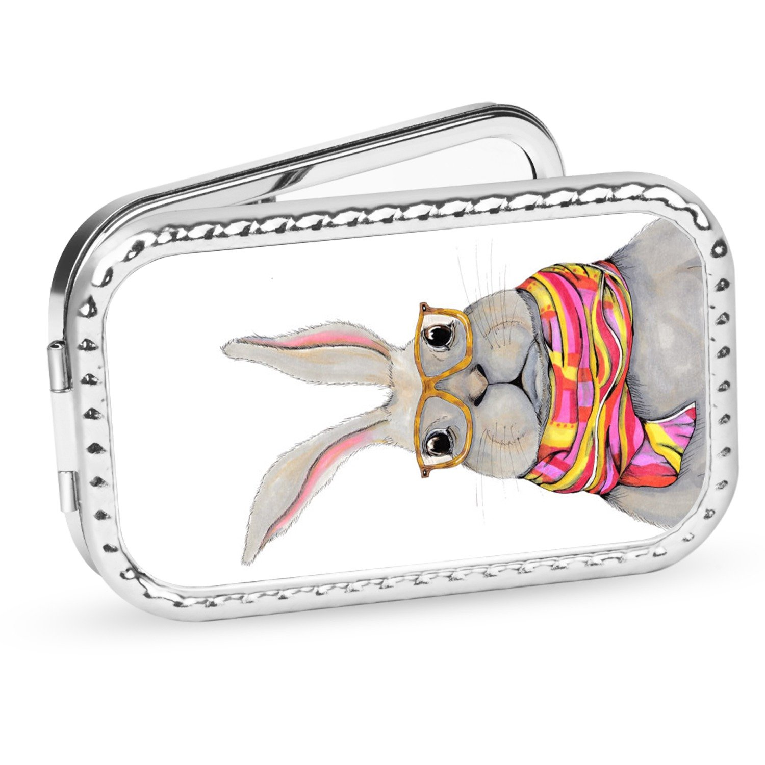 Bunny Rabbit Makeup Compact Mirrors 1X and 2X Pocket Size Handheld Mirrors for Travel Purse and Handbag Tifttay