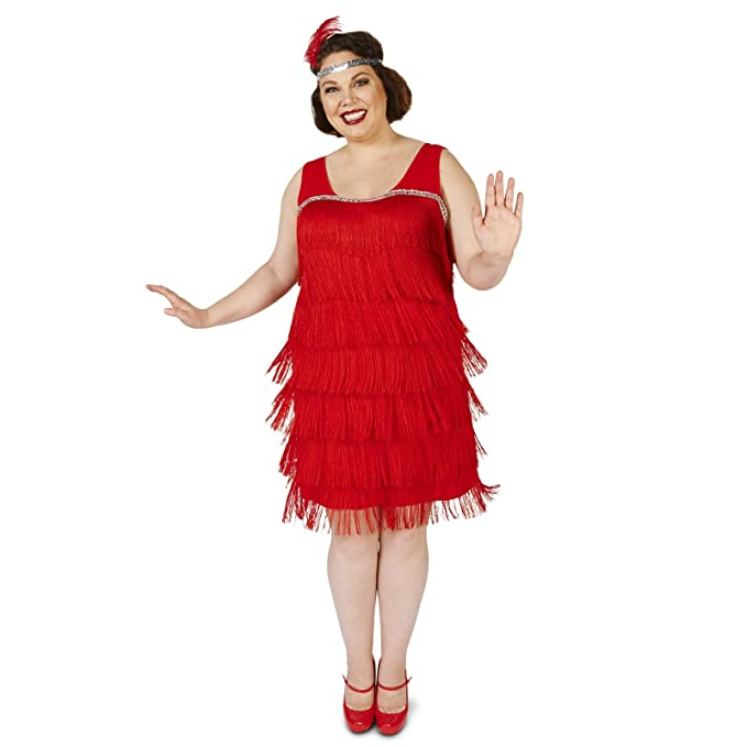 1920s Costumes: Flapper, Gangster, Amelia Earhart Roarin Red Flapper Adult Plus Costume $21.99 AT vintagedancer.com