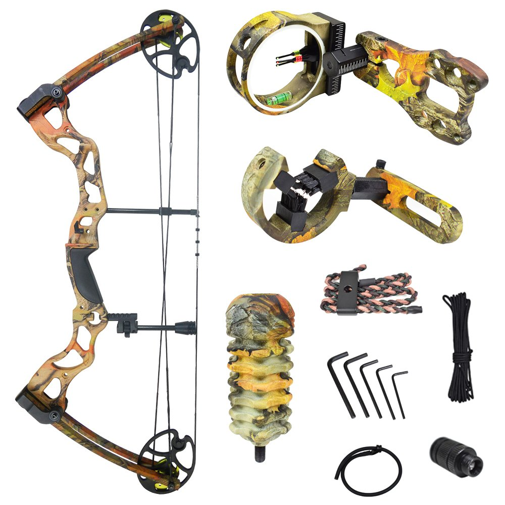 iGlow 40-70 lbs Autumn Camouflage Camo Archery Hunting Compound Bow with Premium Kit 175 150 60 55 30 lb Crossbow