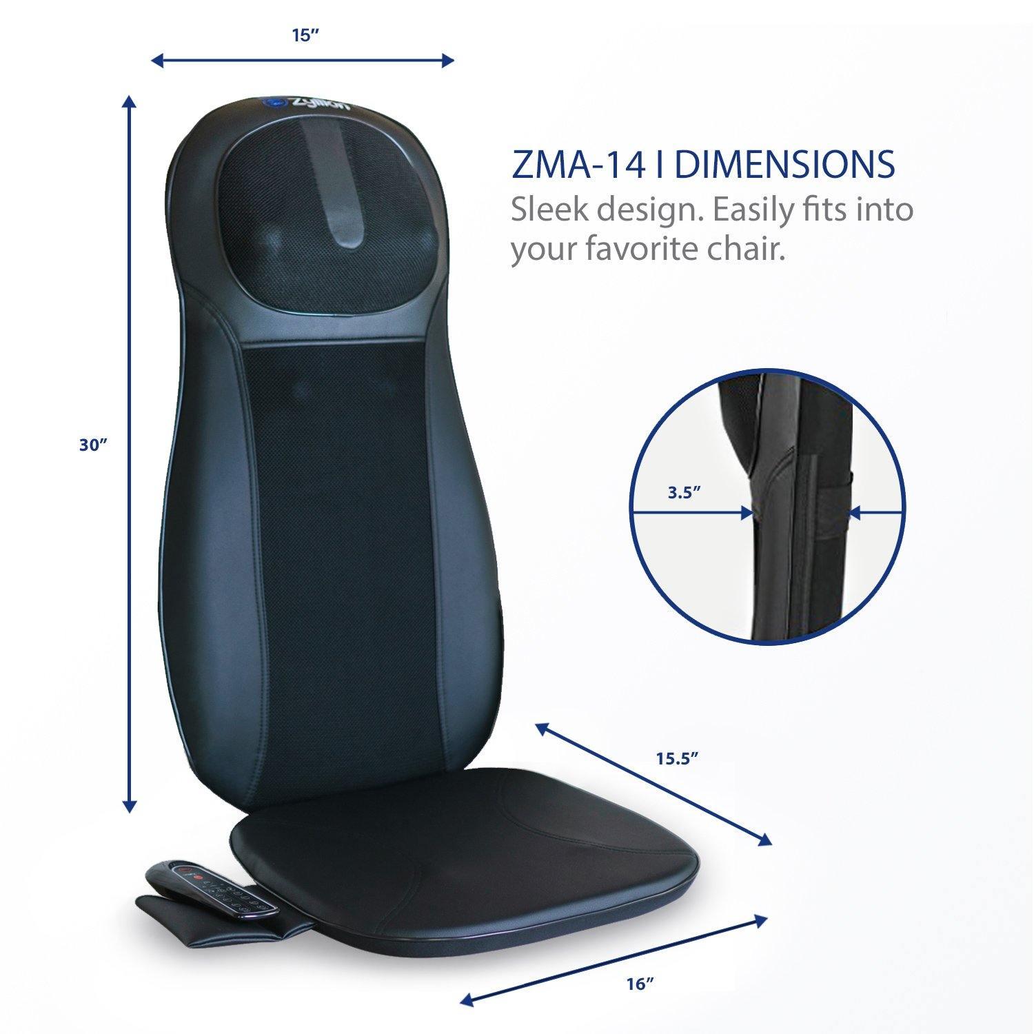 Zyllion ZMA14 Shiatsu Neck & Back Massager Cushion with Soothing Heat Function And 3 Massage Styles Rolling, Spot, and Kneading (Black) One Year Warranty by Zyllion (Image #5)