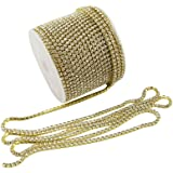 yueton 11 Yards Crystal Rhinestone Close Chain Trimming Claw Chain Jewelry Crafts DIY (Gold)