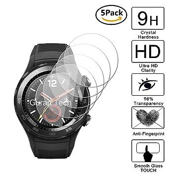 Guran [5-Unidades] Protector de Pantalla Vidrio Cristal Templado para Huawei Watch 2 (Bluetooth) Smartwatch Cristal Vidrio Templado Film (9H, 2.5D ...