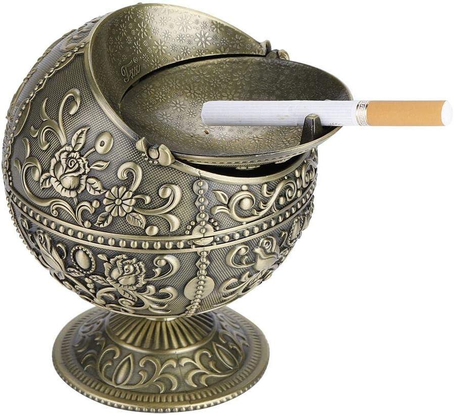 Exquisito Cenicero Creativo, Adornos de artesanía de metal, decoración de patrón estampado, para el hogar y la oficina y el regalo del día del padre y regalo de empresa(latón antiguo)
