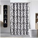 HARU(ハル)高級 シャワー カーテン 北欧 バスルーム カーテン おしゃれ モザイクタイル 120/150/180×180 cm 浴室 防水 防カビ加工 洗面所 間仕切り 目隠し用 取付簡単 (120×180 cm, モザイクタイル)