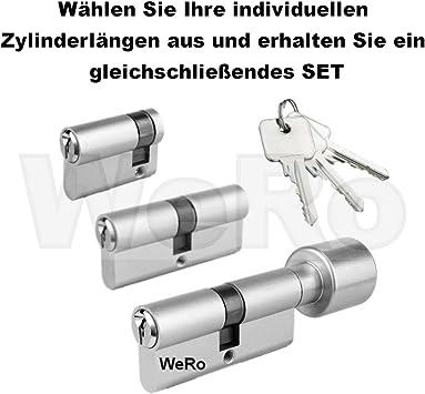 Zylinder Türschloss Knaufzylinder Zylinderschloss 3-15 Schlüssel 45//30
