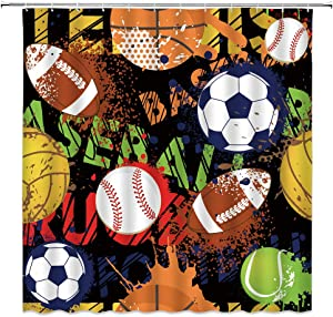 Sport Shower Curtain for Boys Kids Children Teens Watercolor Basketball Football Baseball Hockey Star Creative Grunge Design Black Game Set Bath Curtain Decor Fabric 70x70 INCH with Hooks