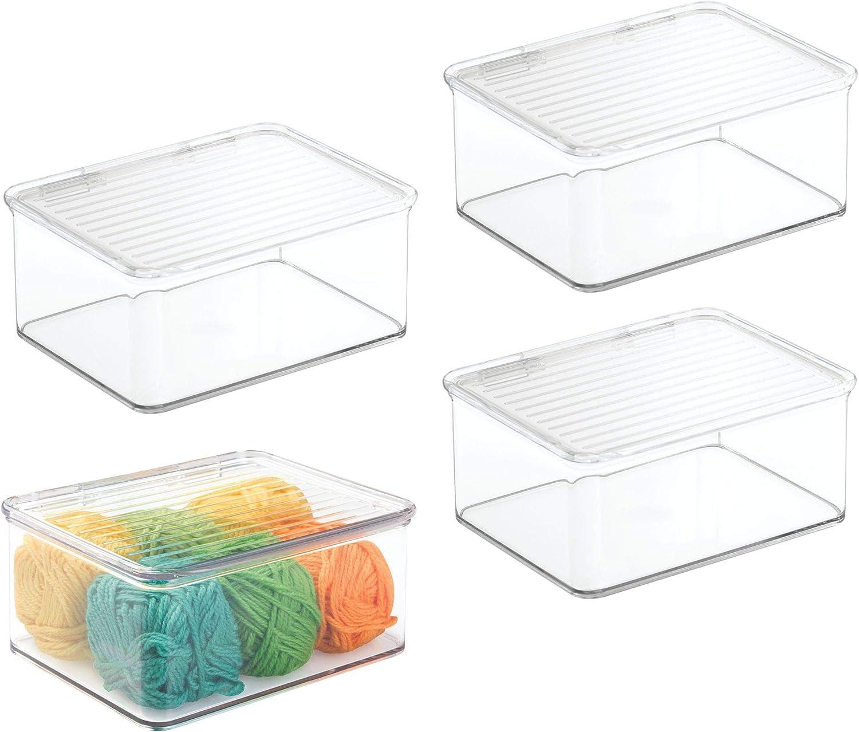 mDesign Juego de 4 Cajas de almacenaje pequeñas – Práctica Caja con Tapa en plástico – Ideal como Organizador de Escritorio, costurero o para Material de Manualidades – Transparente: Amazon.es: Hogar