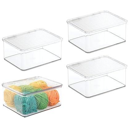 MetroDecor mDesign Juego de 4 Cajas de almacenaje pequeñas – Práctica Caja con Tapa en plástico