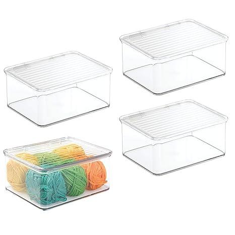 mDesign Juego de 4 cajas de almacenaje pequeñas – Práctica caja con tapa en plástico –